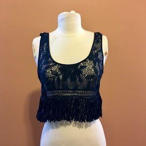 Victoria's Secret Sheer Crop Top w/Fringe